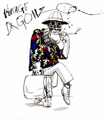 Ralph Steadman Signed Vintage Dr. Gonzo Featuring Hunter S. Thompson