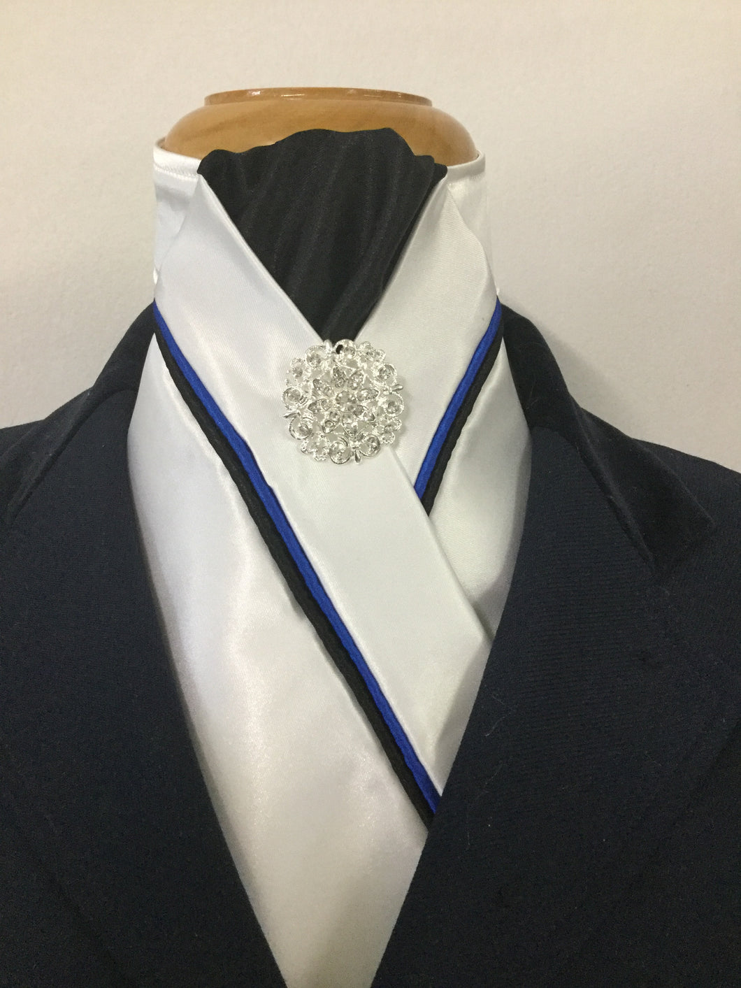 HHD Custom White Satin Pre-tied Stock Tie Black & Royal Blue