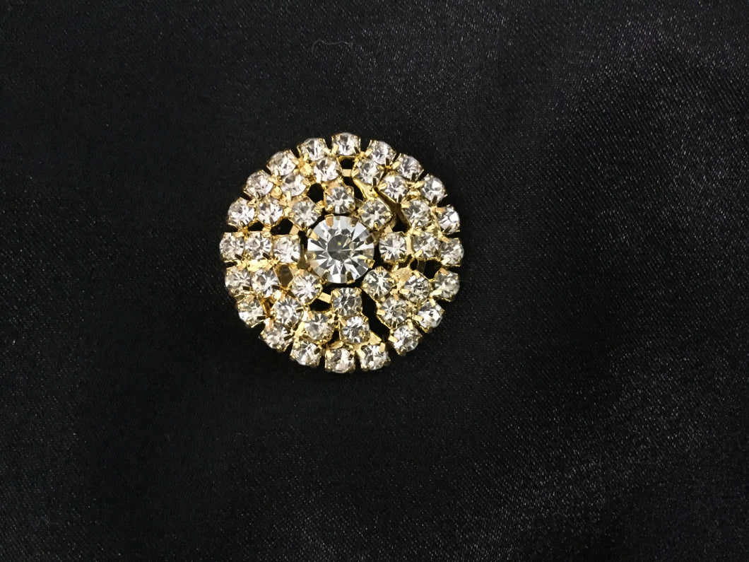 Stunning Round Dressage  Rhinestone Stock Pin in Goldtone