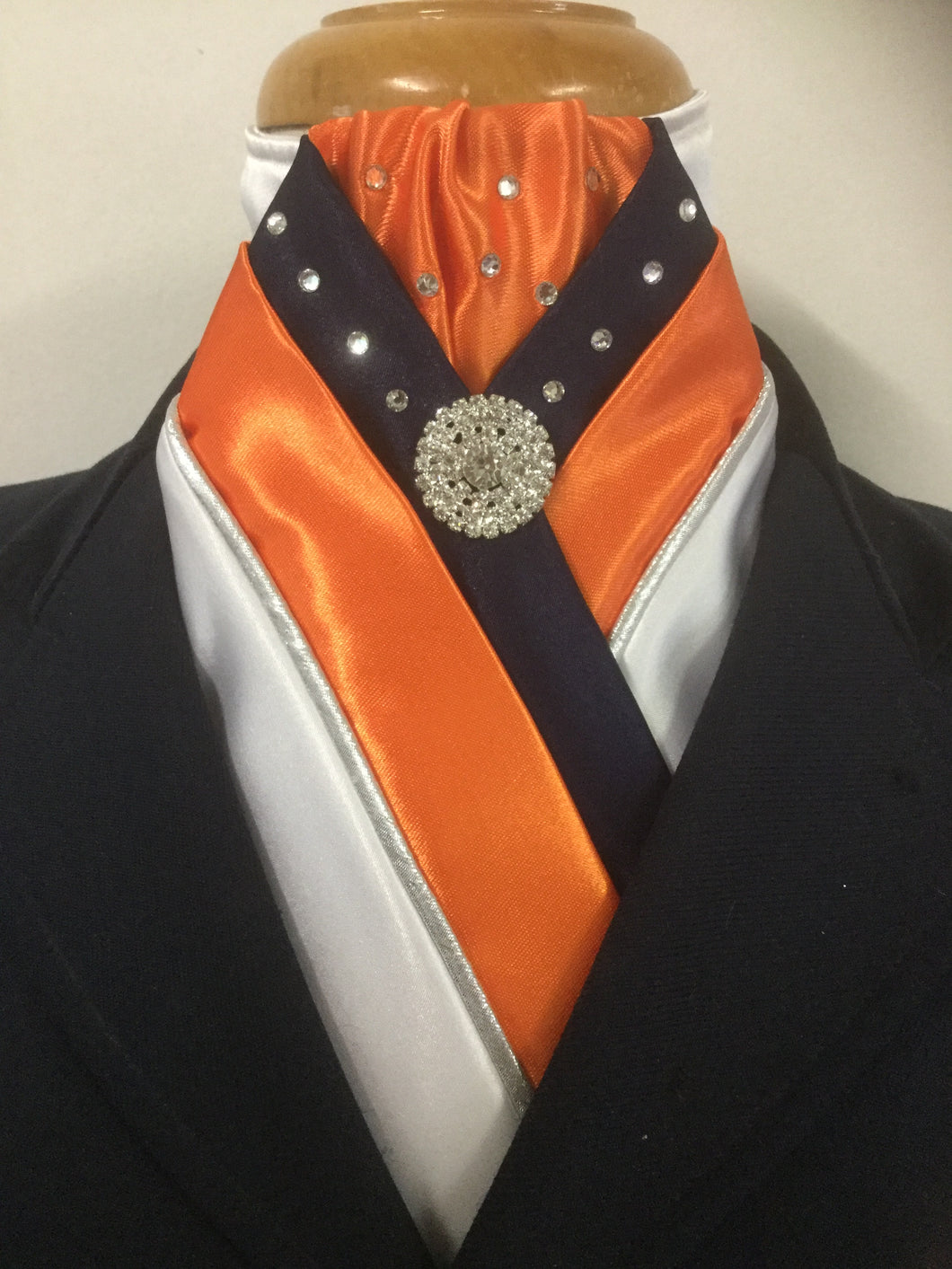 HHD 'The Royal' Equestrian Stock Tie White, Navy Blue & Orange,Silver Piping & Swarovski Elements