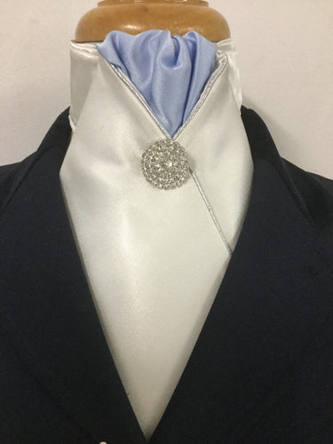 Sale-  HHD Ivory Satin Pre Tied Stock Tie Light Blue, Silver Rhinestone Pin