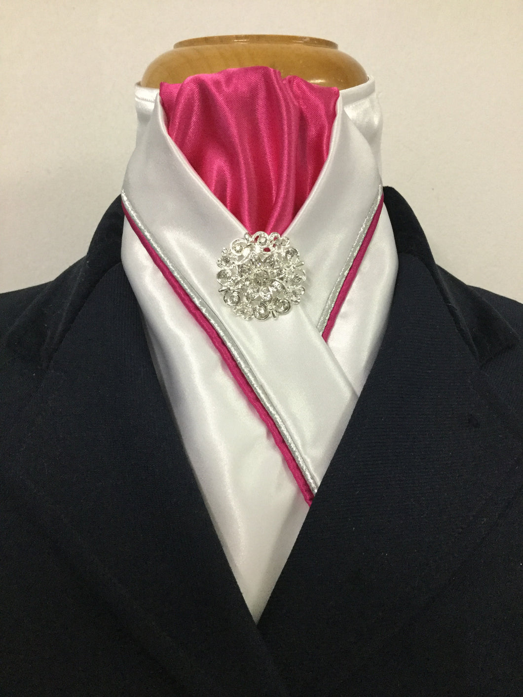 HHD White Satin Custom Pretied Stock Tie Hot Pink & Silver
