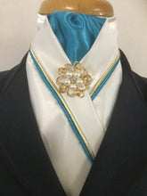 The HHD White or Ivory Satin Custom Stock Tie in Aqua & Gold