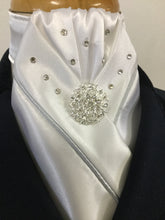 HHD White Custom Stock Tie Single Piping & Swarovski Elements