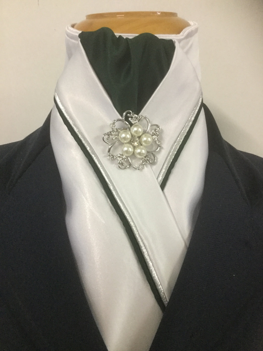 HHD White Satin Pretied Dressage Stock Tie Bottle Green & Silver