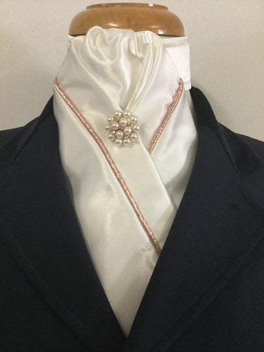 HHD Ivory Cream Satin Custom Stock Tie with Rose Gold Piping