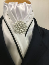 HHD White Custom Stock Tie Double Piping Grey & Silver Swarovski Elements
