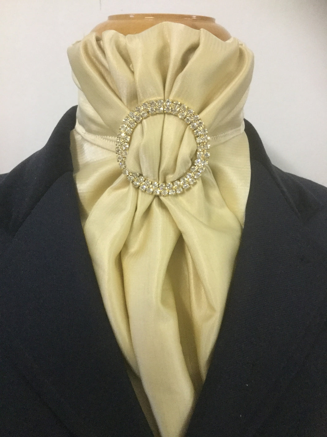 HHD 'The Lucy' in Gold Silk Pretied Euro Stock with a Gold Rhinestone Slider