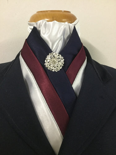 HHD The Royal White Satin Stock Tie in Navy Blue & Burgundy