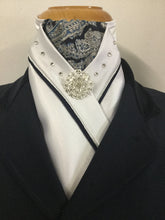 HHD White Satin Custom Stock Tie Navy Paisley & Silver