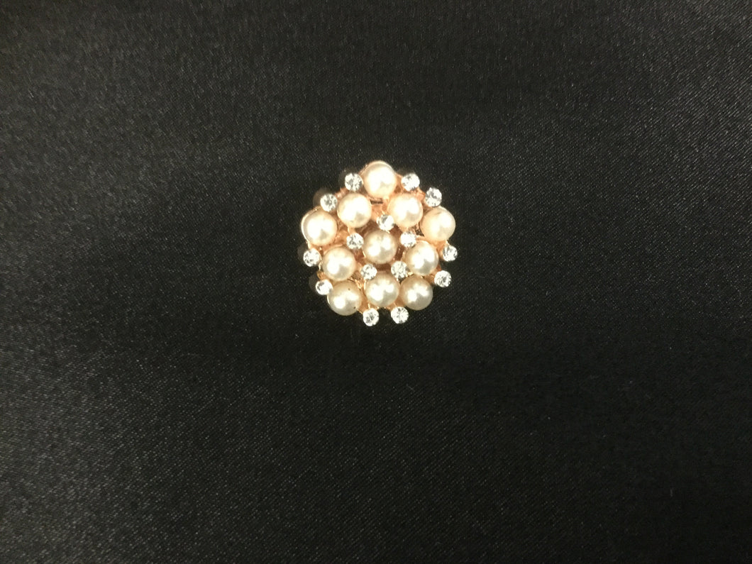 Rose Gold Pearl Rhinestone Stock Pin