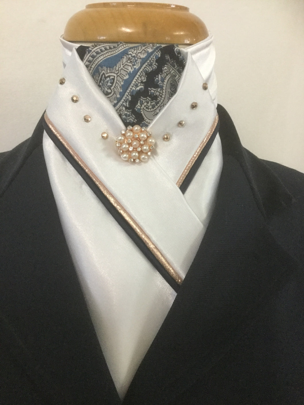 HHD White Satin Custom Stock Tie Navy Paisley & Rose Gold with Swarovski Elements