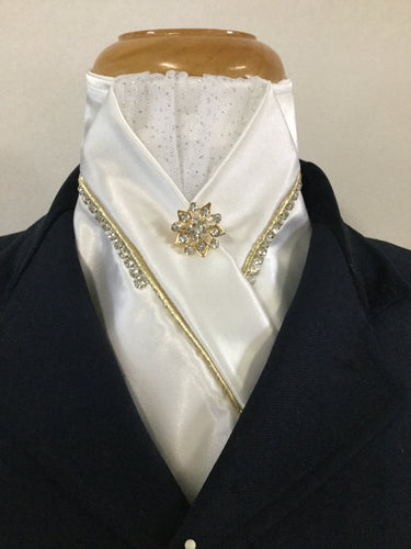 HHD Snow White Rhinestones Pretied Stock Tie with Gold