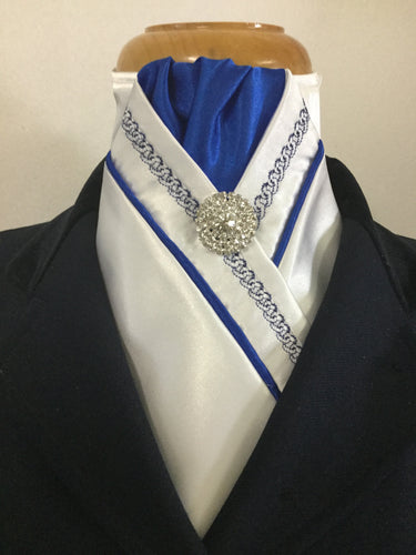HHD Pretied Stock Tie White Satin Royal Blue Chain Embroidered