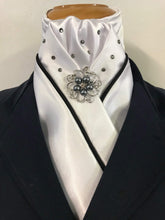 HHD White Satin Stock Tie 'Black Diamond' with Piping & Swarovski Elements