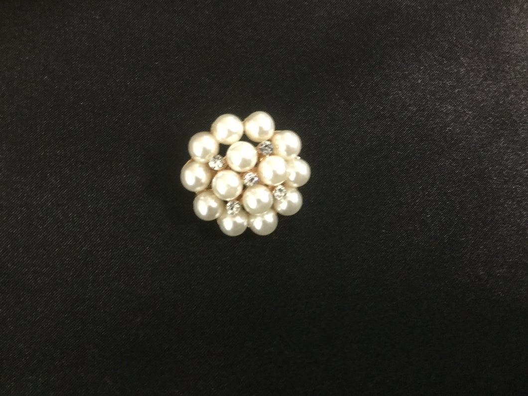 Small Round Goldtone Pearl Rhinestone Stock Pin