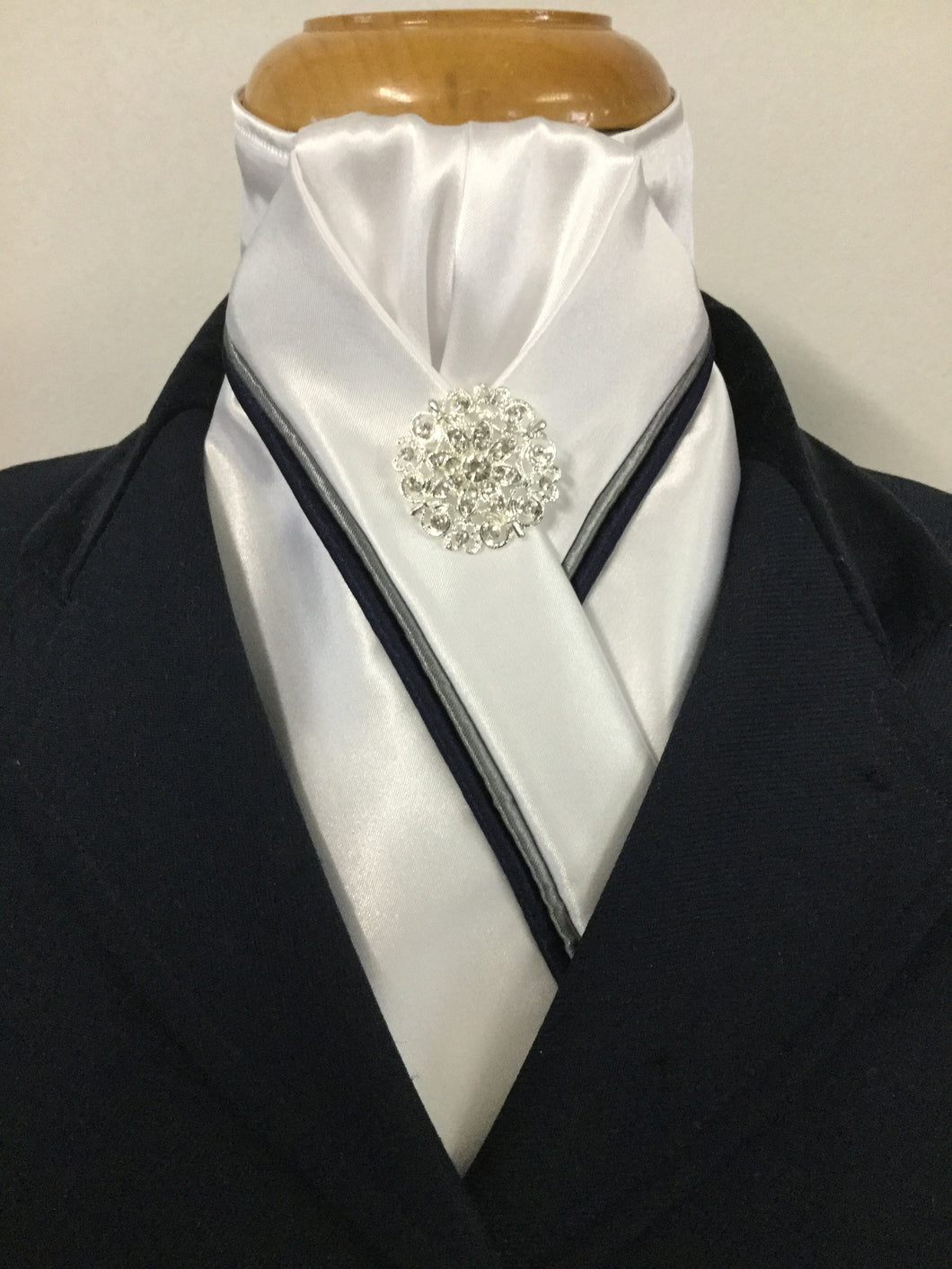 HHD Custom White Satin Stock Tie Navy Blue or Black  & Grey Piping