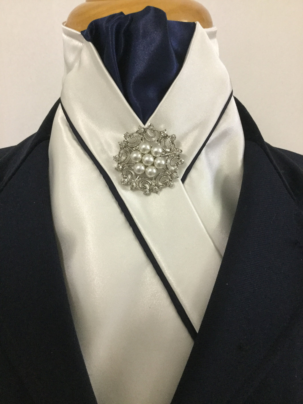 HHD Cream Satin Custom Pretied Stock Tie Navy Blue with Piping