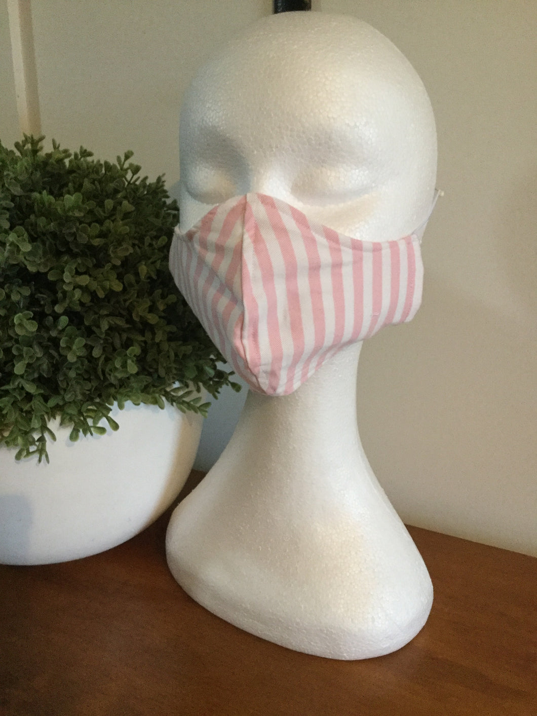 Ladies Cotton Pink n White  Face Mask - Non Surgical