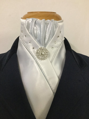 HHD White Custom Stock Tie Silver with Swarovski Crystals