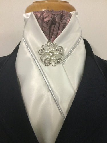 Sale- HHD Ivory Satin Custom Stock Tie Silver Piping Rose Pink Lace