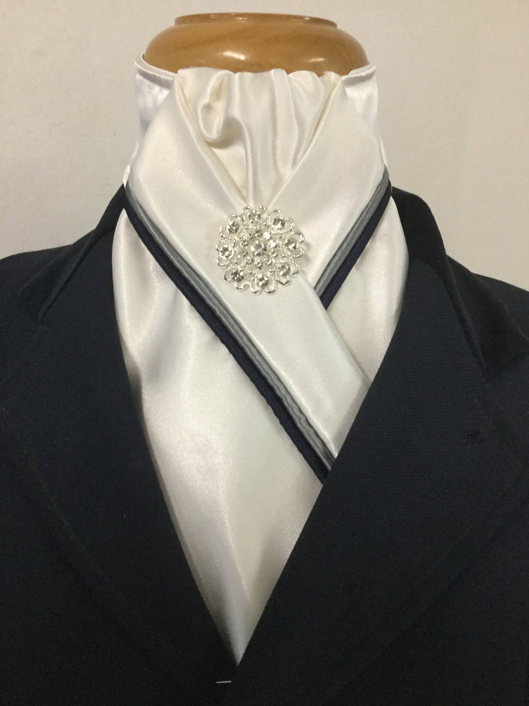 HHD  Ivory Satin Stock Tie Navy Blue and Grey Piping with Rhinestone Pin