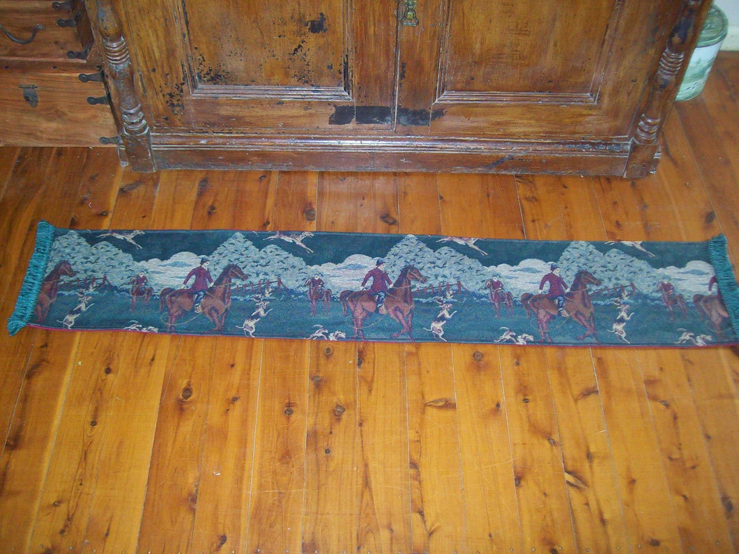 Vintage Tapestry Hunting Scene Table Runner