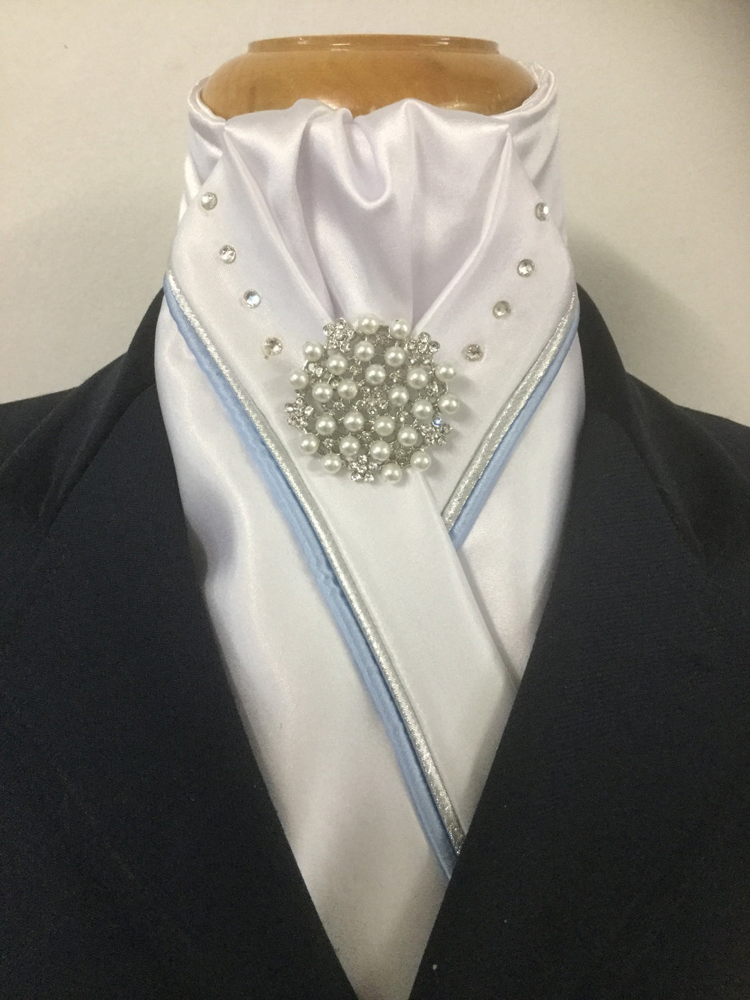 HHD White Custom Stock Tie Double Piping Light Blue & Silver Swarovski Elements
