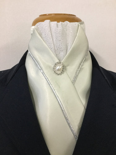 HHD Ice Green Satin Stock Tie Pearl Stock Pin
