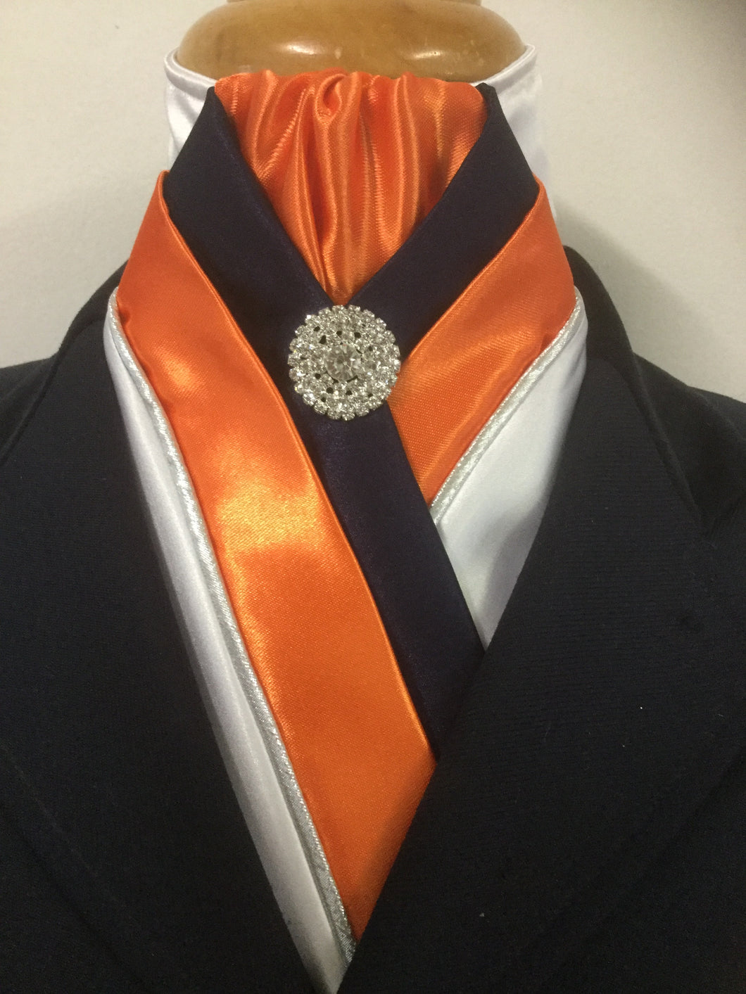 HHD 'The Royal' Equestrian Stock Tie White, Navy Blue & Orange,Silver Piping