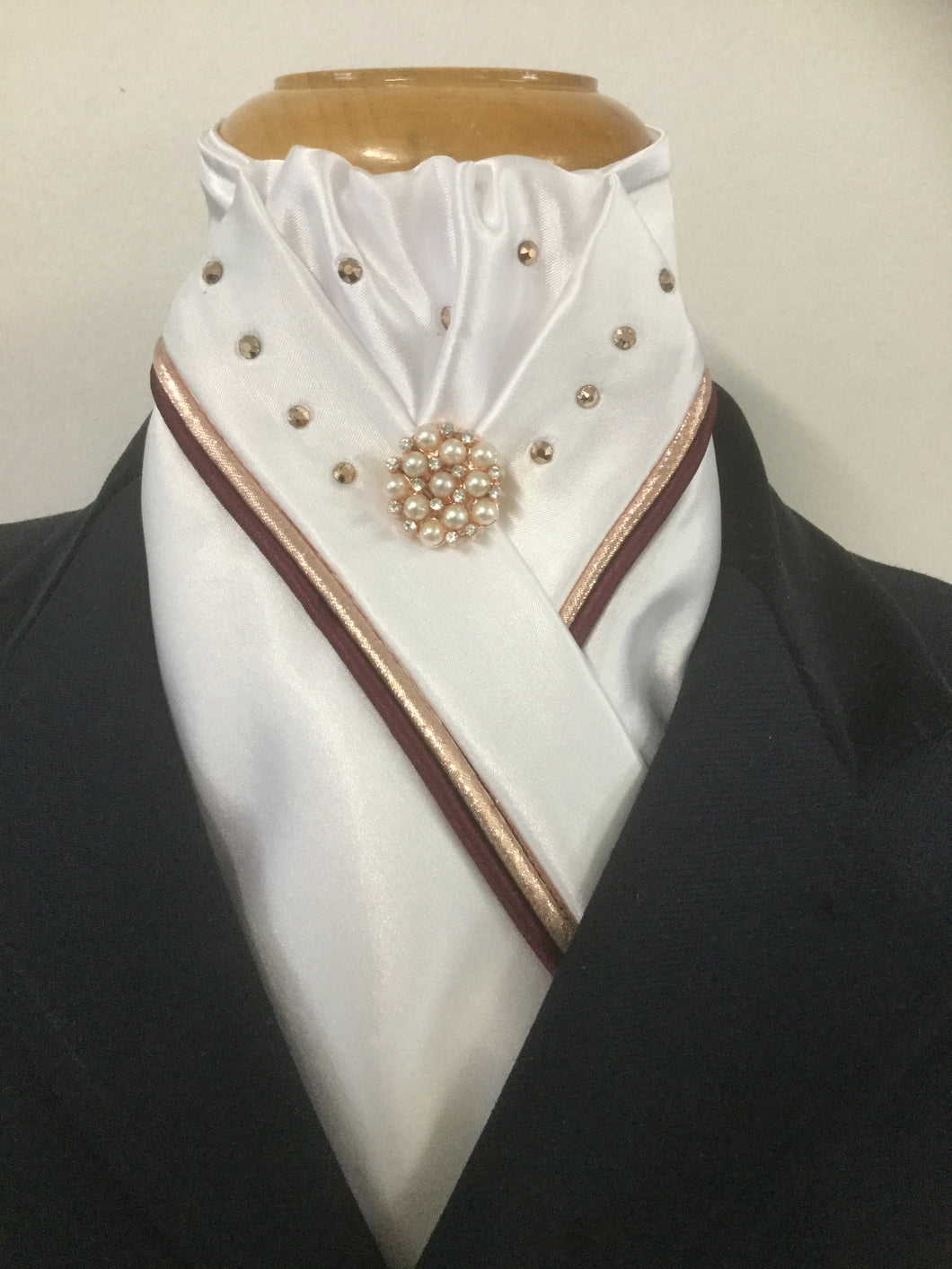 HHD White or Ivory Satin Custom Stock Tie Rose Gold & Burgundy with Swarovski Elements