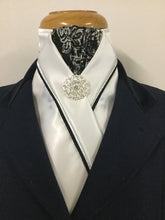 HHD White Custom Stock Tie Black & White Paisley