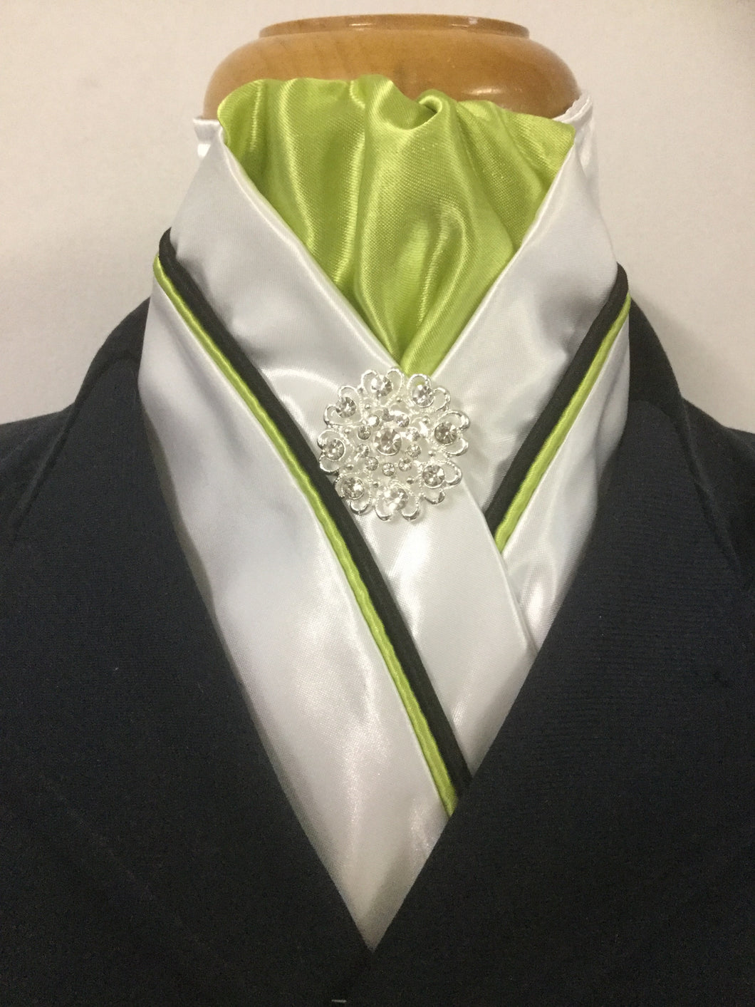 HHD White Satin Stock Tie Lime Green, Navy Black Piping Other Colours Available