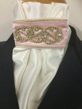 HHD Ivory Satin Euro Stock Tie 'Midnight' Pink & Gold