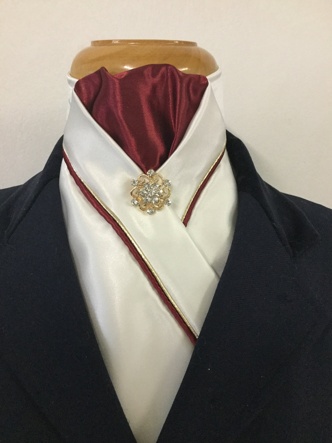 HHD Ivory Cream Custom Stock Tie Maroon & Gold