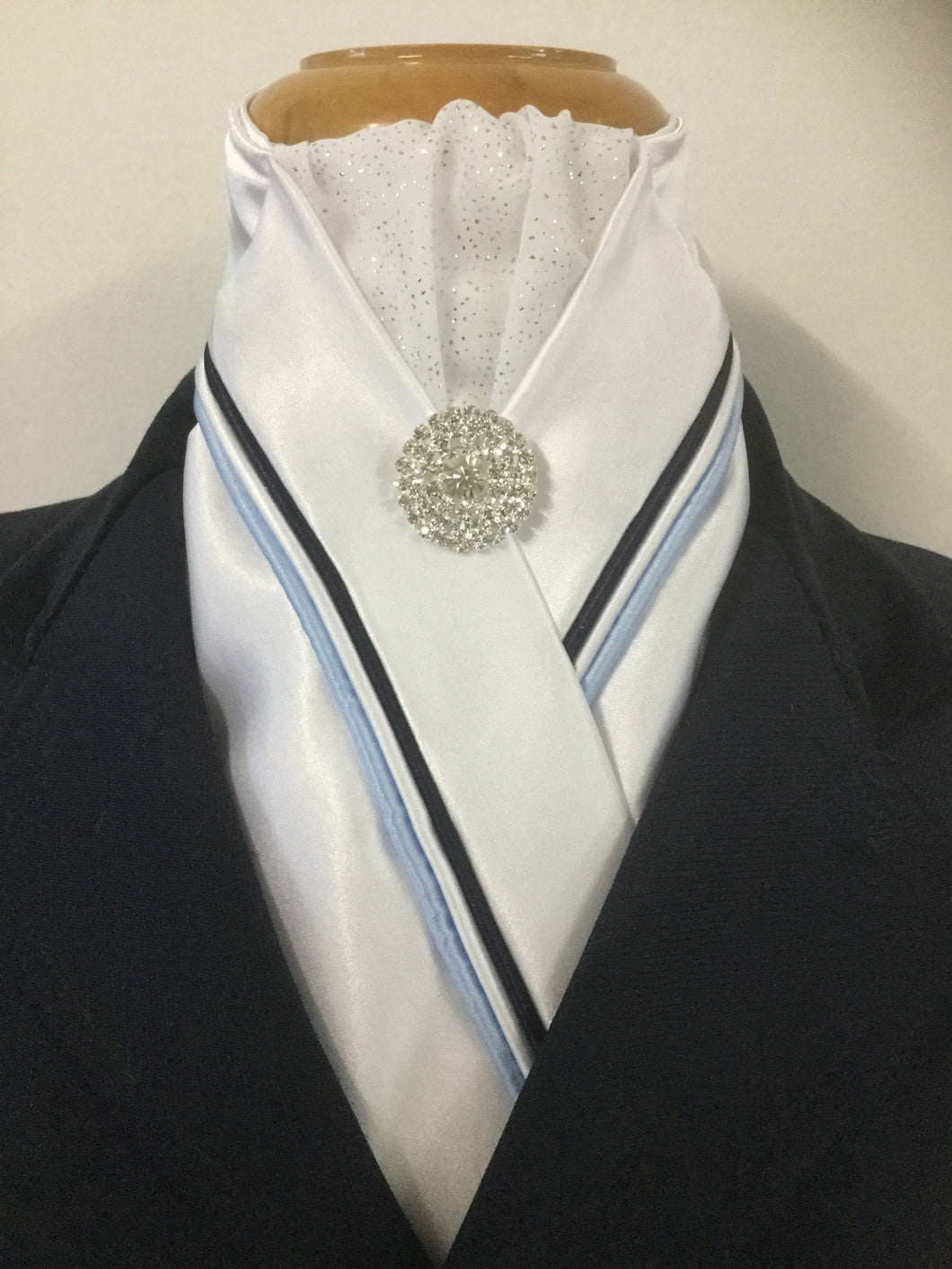 HHD White Custom Stock Tie Triple Piping in Navy, Light Blue & White