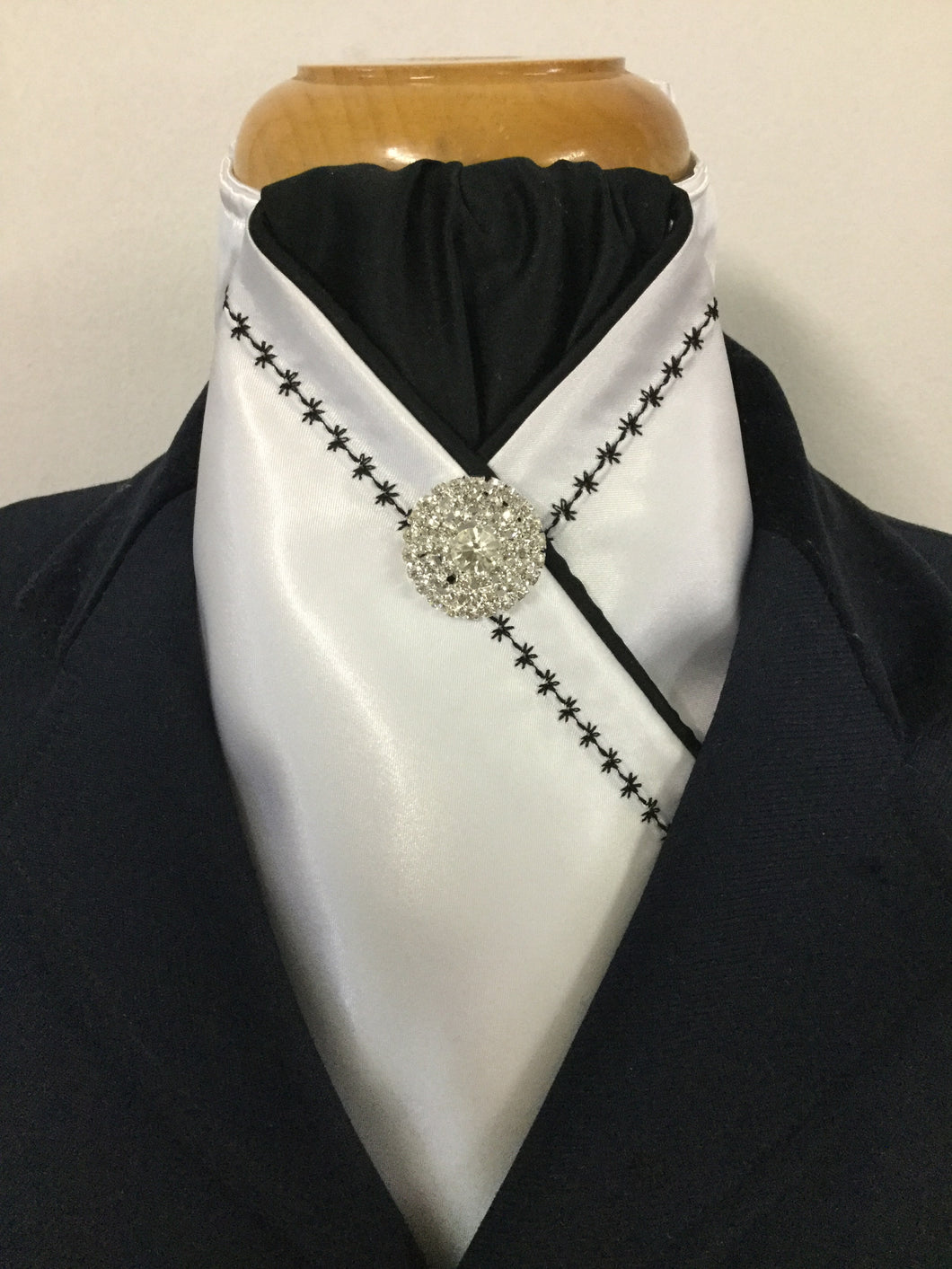 HHD White Satin Pretied Stock Tie Embroidered in Black