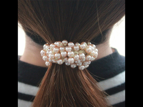 Gold Beige Pearl Beaded  Scrunchie