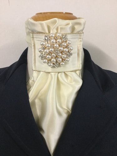HHD Cream Euro Stock Tie 'Amy' With Pearls & Gold