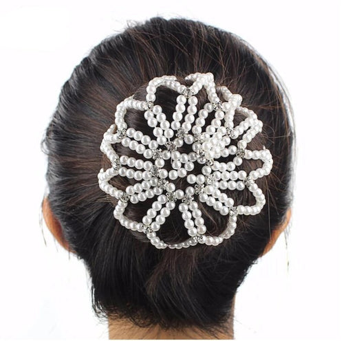 Pearl & Rhinestone Hair Snood Bun Cover