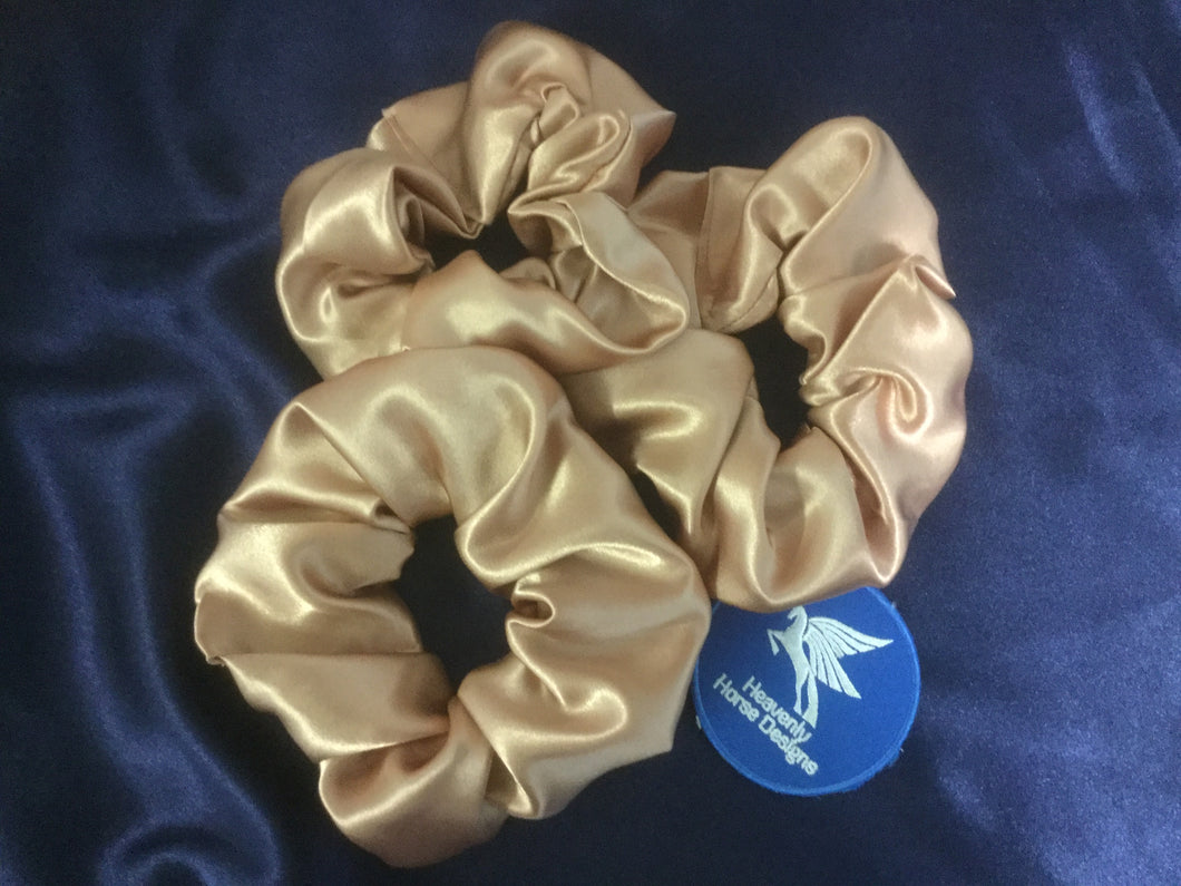 HHD 'Bonny' Hair Dressage Show Rider  Scrunchie Rose Gold Satin
