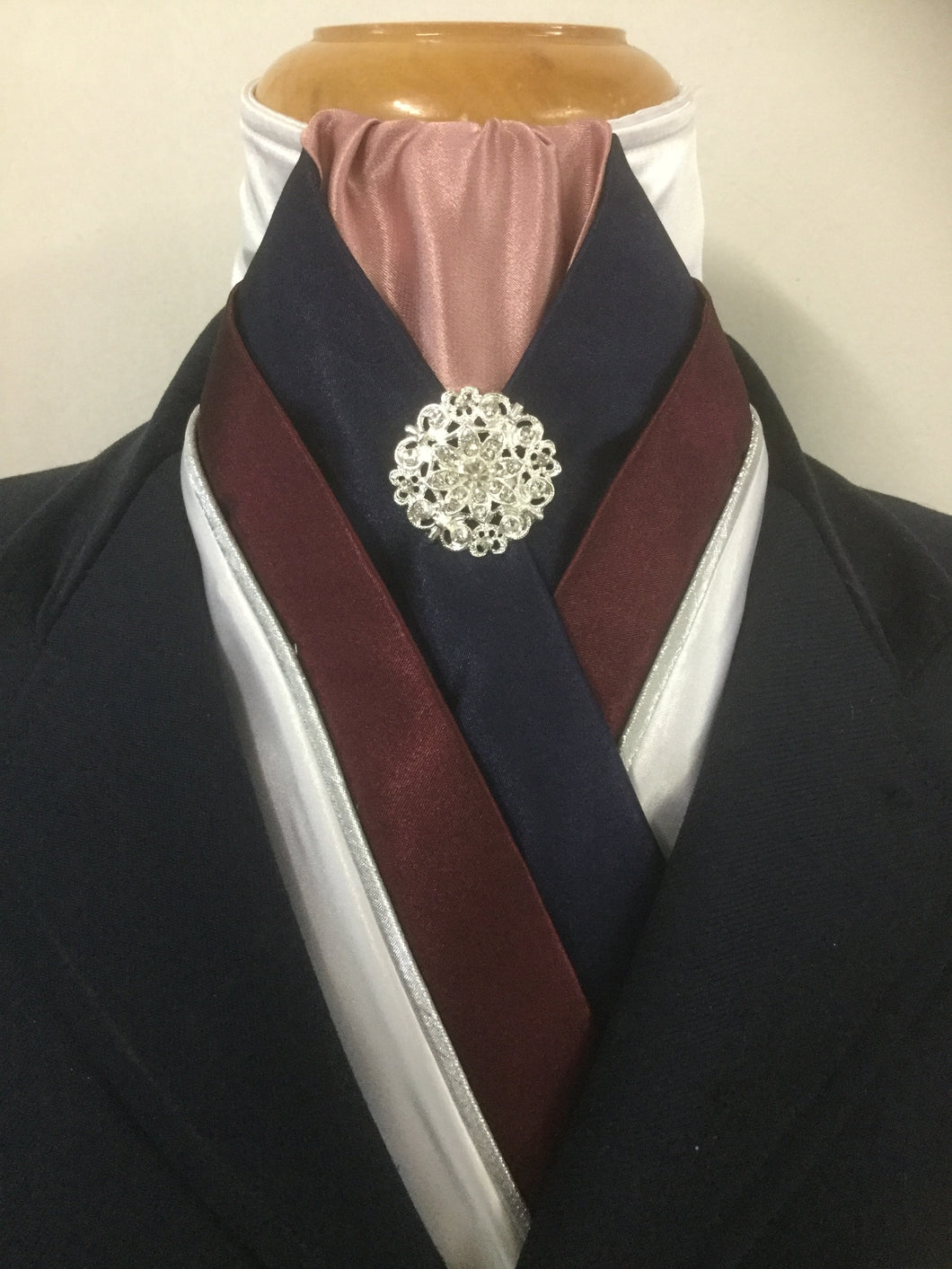HHD The Royal White Satin Custom Stock Tie in Burgundy,Navy & Rose Pink