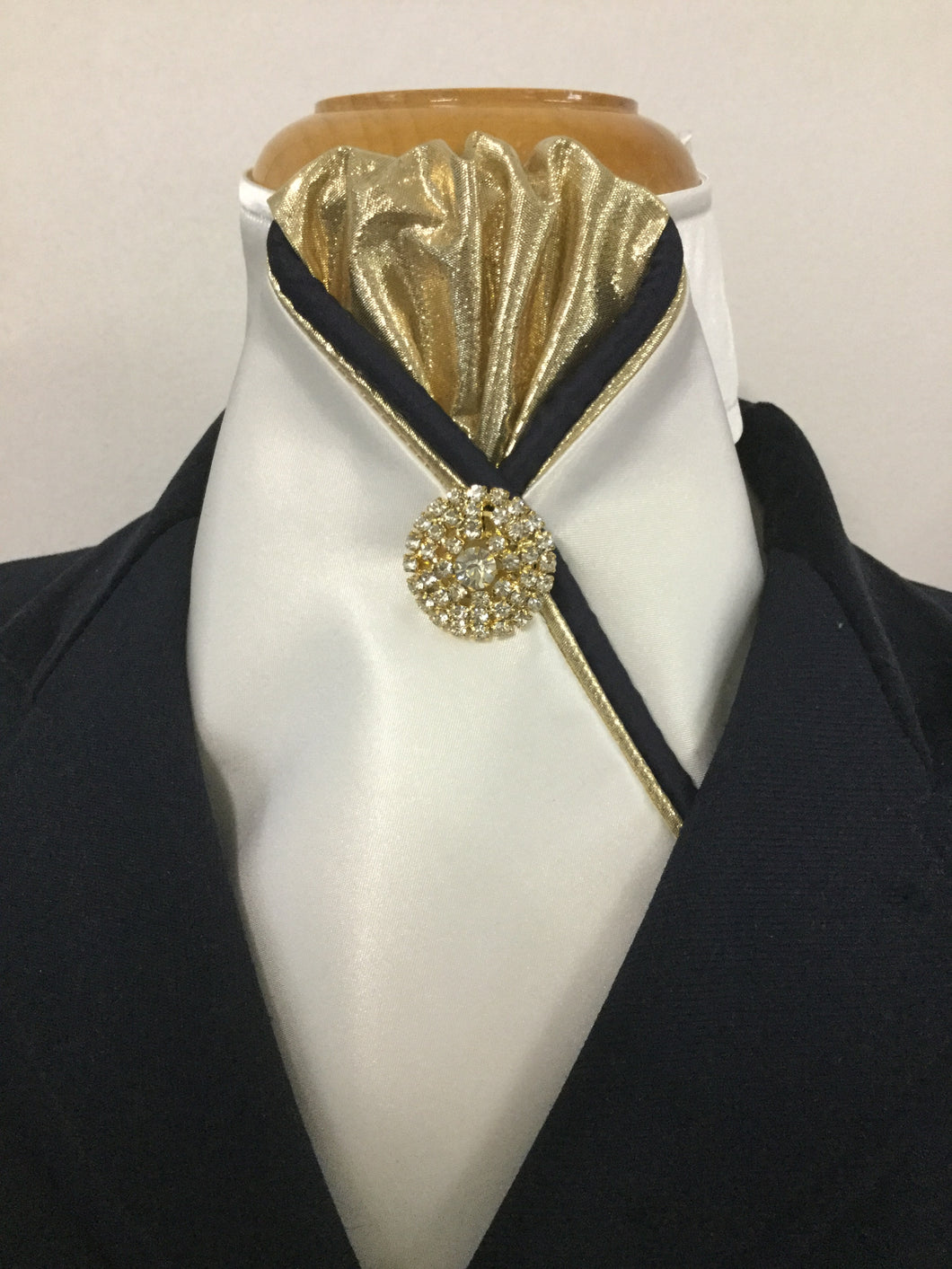 The HHD 'Sophie' Custom Stock Tie in Navy & Gold Rhinestone Pin