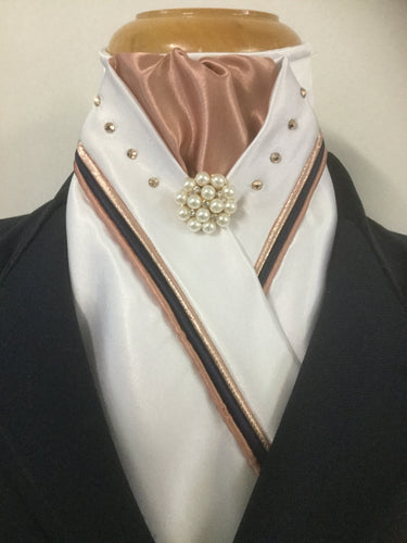 HHD Custom White Satin Stock Tie with Swarovski Elements Triple Piping Rose Gold & Navy