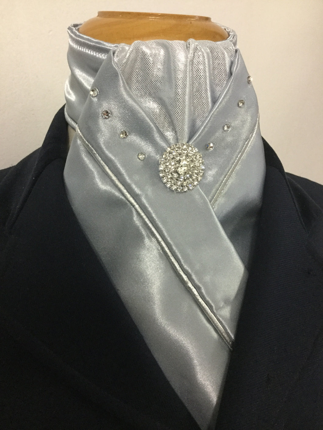 HHD Custom Equestrian Stock Tie in Silver Blue 'Becky' with Swarovski Elegance