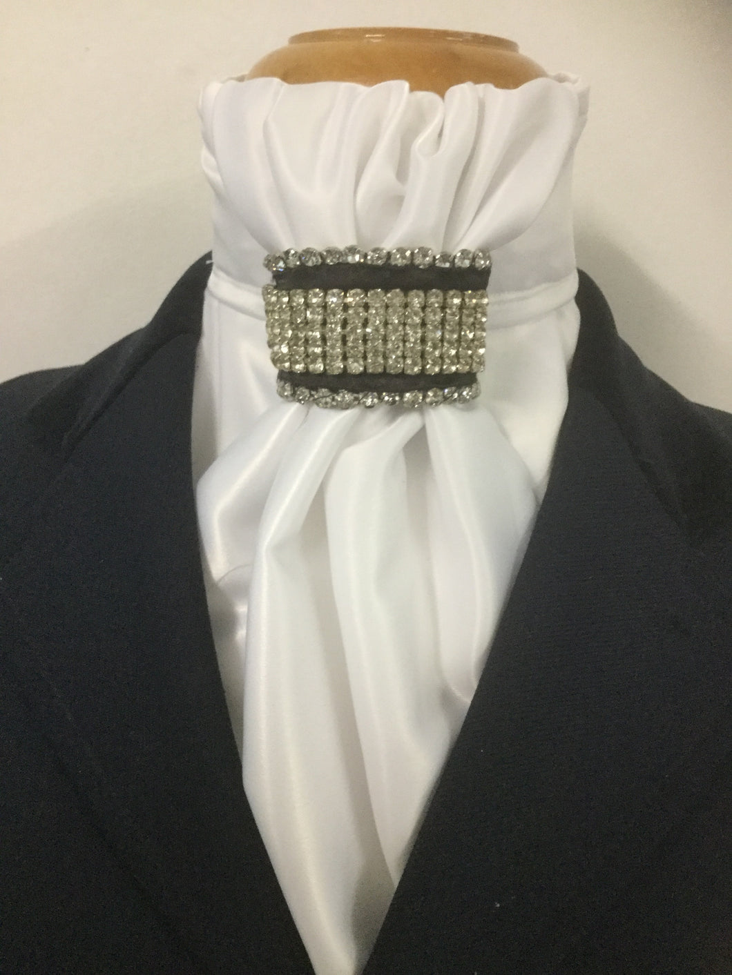 HHD White Satin Pretied Euro Stock 'Jessica' Black with Rhinestones