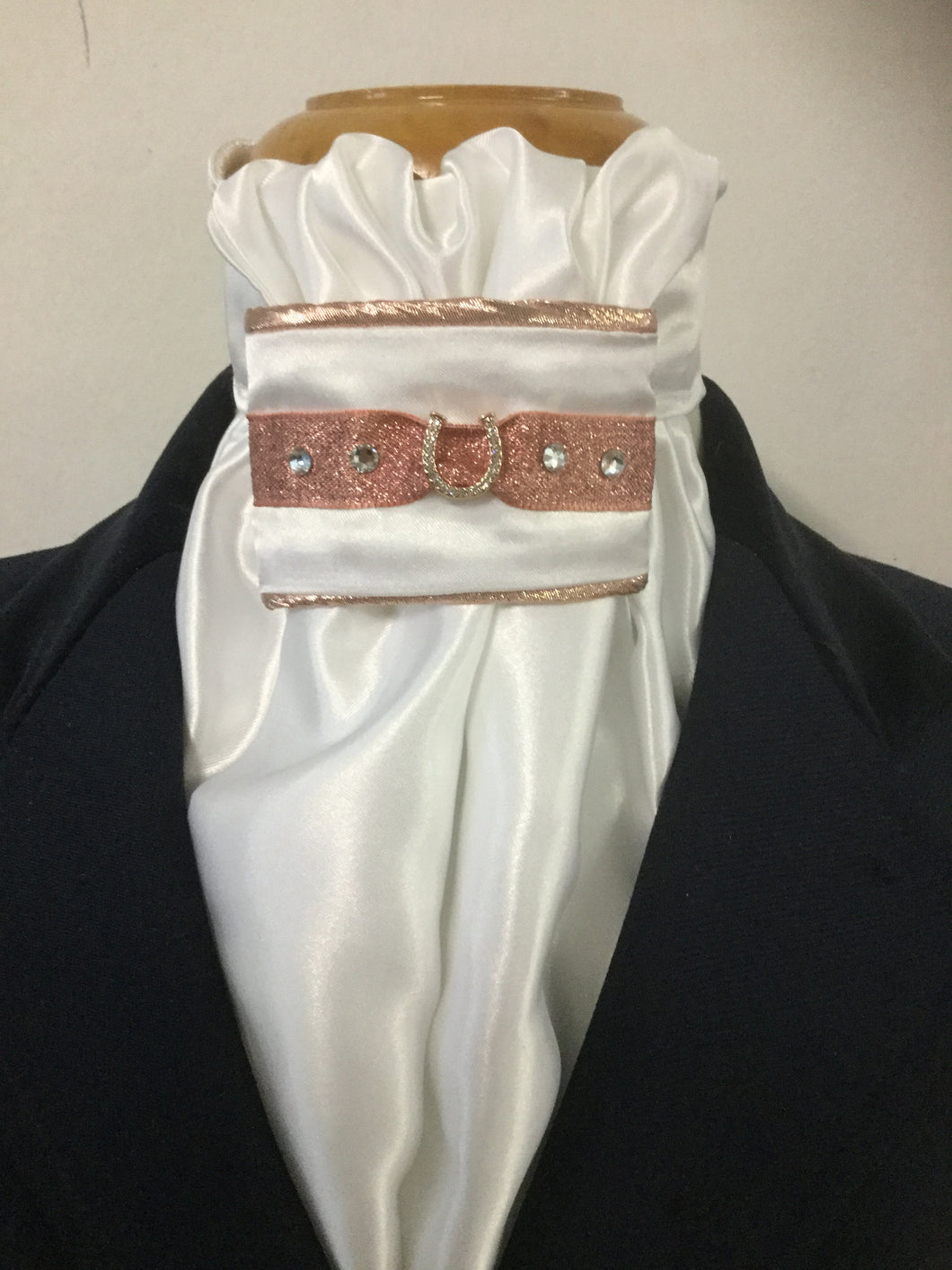 HHD White Satin Euro Stock Tie 'Tomi' in Rose Gold with Swarovski Elements