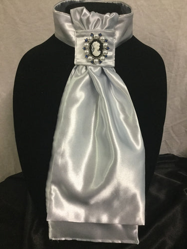 "HHD Silver Satin Pre Tied Euro Stock Tie ""Isabelle"""