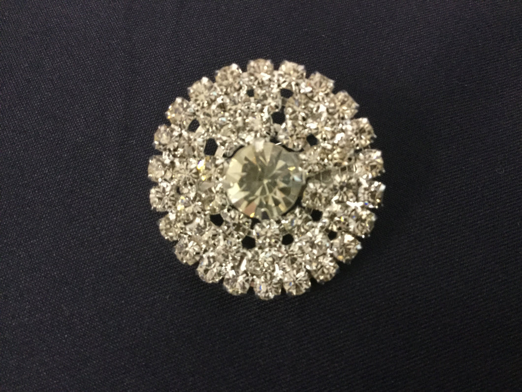 Small Round  Silver Rhinestone Stock Pin Brooch