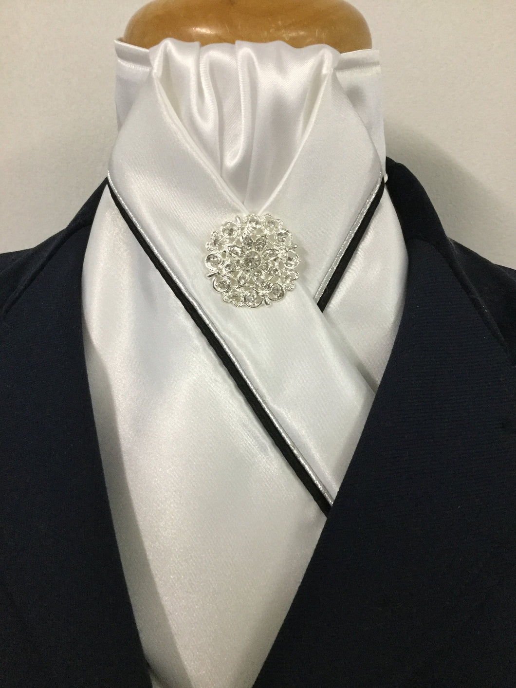 HHD White Satin Pretied Stock Tie with Silver & Black Piping